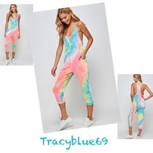 2 Left❗️5🌟Rated Tie Dye Strappy Romper w/ Pockets